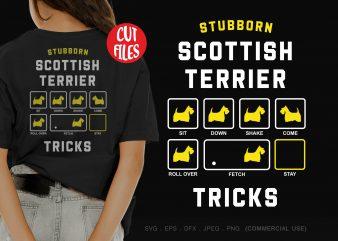 Stubborn scottish terrier tricks t shirt design template
