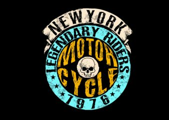 1976 biker print ready t shirt design