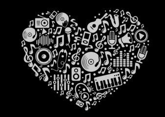 music heart print ready t shirt design