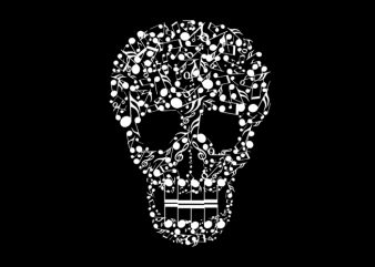 music skull ready made tshirt design