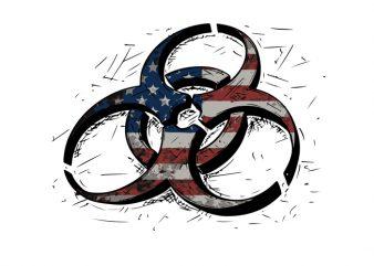 Biohazard usa flag2 graphic t-shirt design