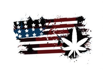 usa flag marijuana plant design for t shirt print ready t shirt design