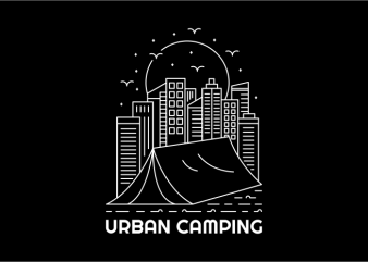 Urban Camping t shirt design for sale