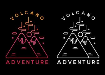 Volcano Adventure graphic t-shirt design