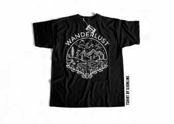 WANDERLUST graphic t-shirt design for sale