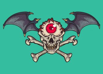 Skull Cyclop wings t-shirt design png