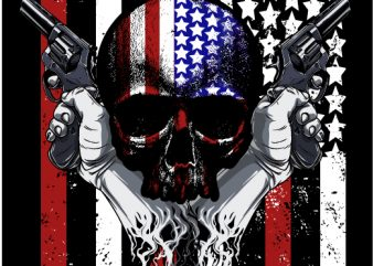 american skull t shirt design for download