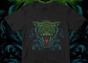 angry tiger vintage design for t shirt