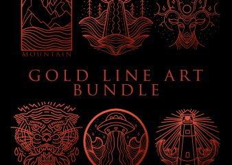 gold line art bundle tshirt design