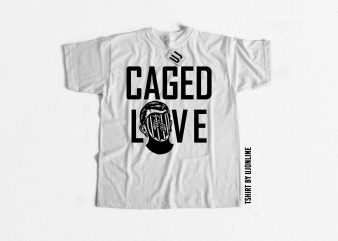 CAGED LOVE SKULL t-shirt design for sale