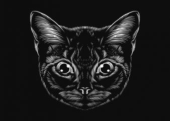 hand drawing cat line art graphic t-shirt design
