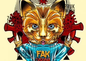 [Vector] Cat FAK Corona Virus – Original Artwork t-shirt design for sale