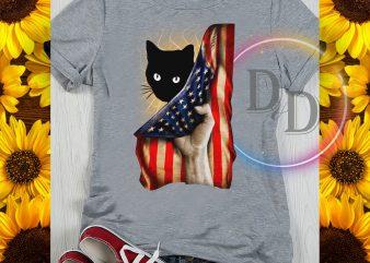 Black Cat Behind America Flag Cat lover buy t shirt design artwork