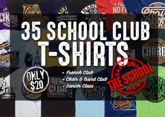 SCHOOL CLUB T-SHIRT BUNDLE design for t shirt