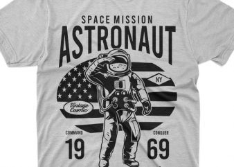 astronaut space mission vector t shirt design for download