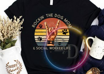 Rockin' The Dog Mom & Social Worker Life Paws VIntage t shirt design to buy