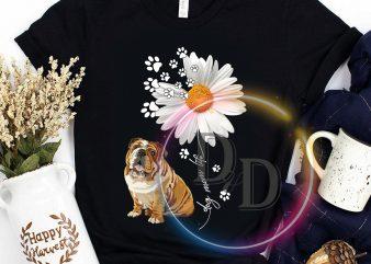 Dog Mom Life Daisy Flower Bulldog Mother's day ready made tshirt design