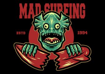 mad surfing tshirt design