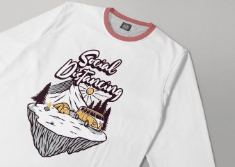 social distancing. mountain camp buy t shirt design