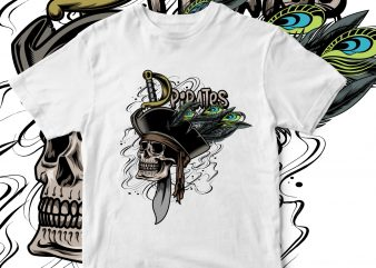 pirates skull ready made tshirt design