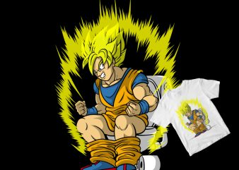 Pupsaiyan goku awakening in toilet t shirt design to buy