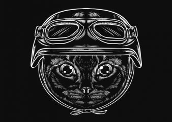 retro Cat with helemet t shirt design for download