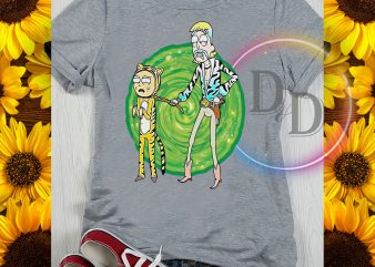 Tiger King ricky and morty funny cosplay graphic t-shirt design