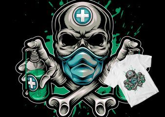 skull doctor corona virus fighter t shirt design template