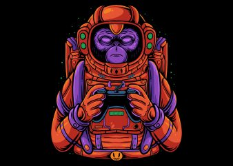Space monkey gamer graphic t-shirt design