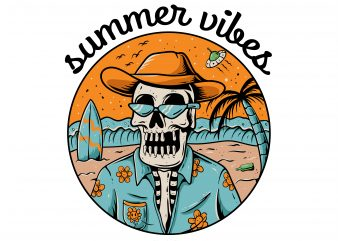 summer vibes skeleton shirt design png