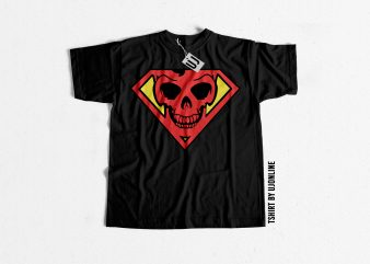 Super Skull graphic t-shirt design