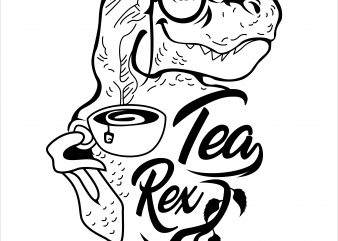 tea rex t-shirt design for sale