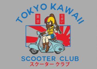 tokyo kawaii scooter club t shirt design for download
