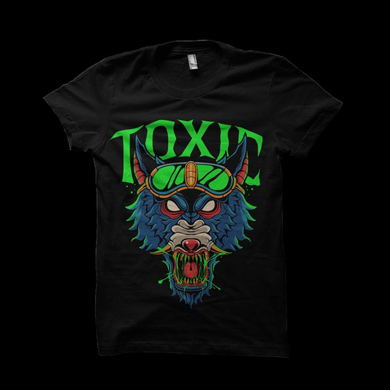 Toxic wolf ready made tshirt design
