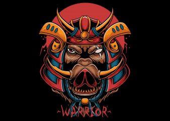samurai boar shirt design png