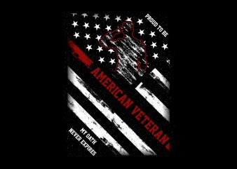 Proud To Be American Veteran t-shirt design for commercial use