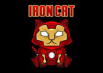 Cat Funny Iron cat parody shirt design png commercial use t-shirt design