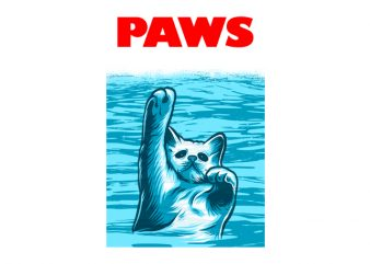 Cat Funny Paws, Jaws Parody shirt design png commercial use t-shirt design