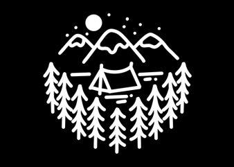 Camping Mountain line art Monoline print ready t shirt design