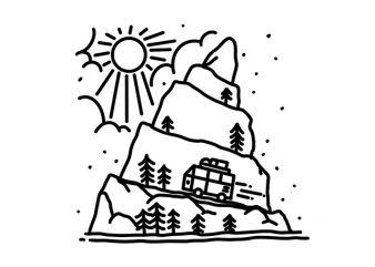 Holiday Van Car Line art Monoline t shirt design template