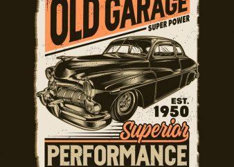 Old Garage t shirt design for purchase
