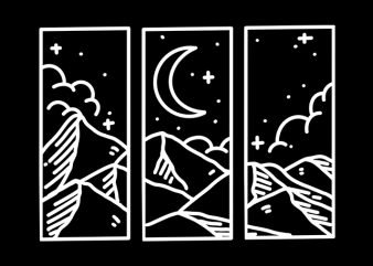 Night mountain line art monoline t-shirt design for sale