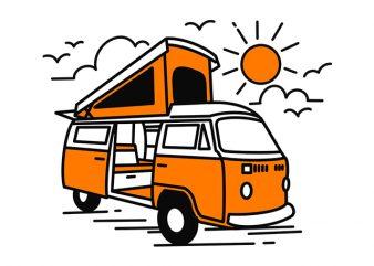Caravan Home Car Line art Monoline ready made tshirt design