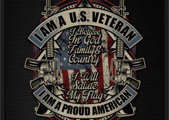I AM A U.S. VETERAN I AM A PROUD AMERICAN t-shirt design for commercial use