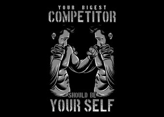 Gym Fitness Tshirt Design, Your Biggest Competitor should be your self
