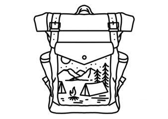 Backpacker Camping mountain monoline t shirt design template