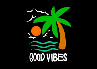 good vibes beach print ready t shirt design