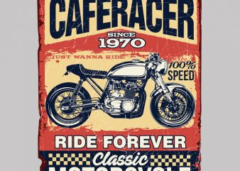 CAFERACER MOTORCYCLE t shirt design for sale