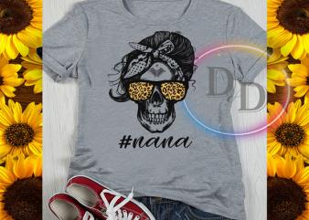Nana Skull Leopard Mother's day Gifts print ready t shirt design