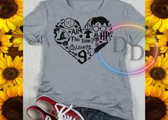 Harry potter heart hogwarts school shirt design png commercial use t-shirt design